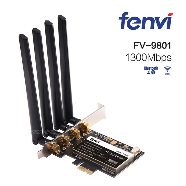 PCI Express 802 11AC Dual Band Broadcom BCM94360 1300Mbps WiFi Fenvi FV9801  Desktop PCI E Wireless Adapter with Bluetooth BT 4 0-in Network Cards from