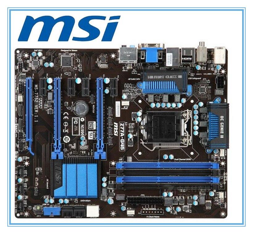 D'origine carte mère MSI Z77A-G45 DDR3 LGA 1155 pour I3 I5 I7 CPU 32 GB USB3.0 SATA3 bureau carte mère Livraison gratuite