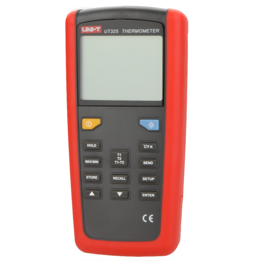 UNI-T UT325 Electronic Digital Thermometer Temperature Meter Tester T1-T2 Dual Input with High/Lower Alarm & Auto Calibration  цены