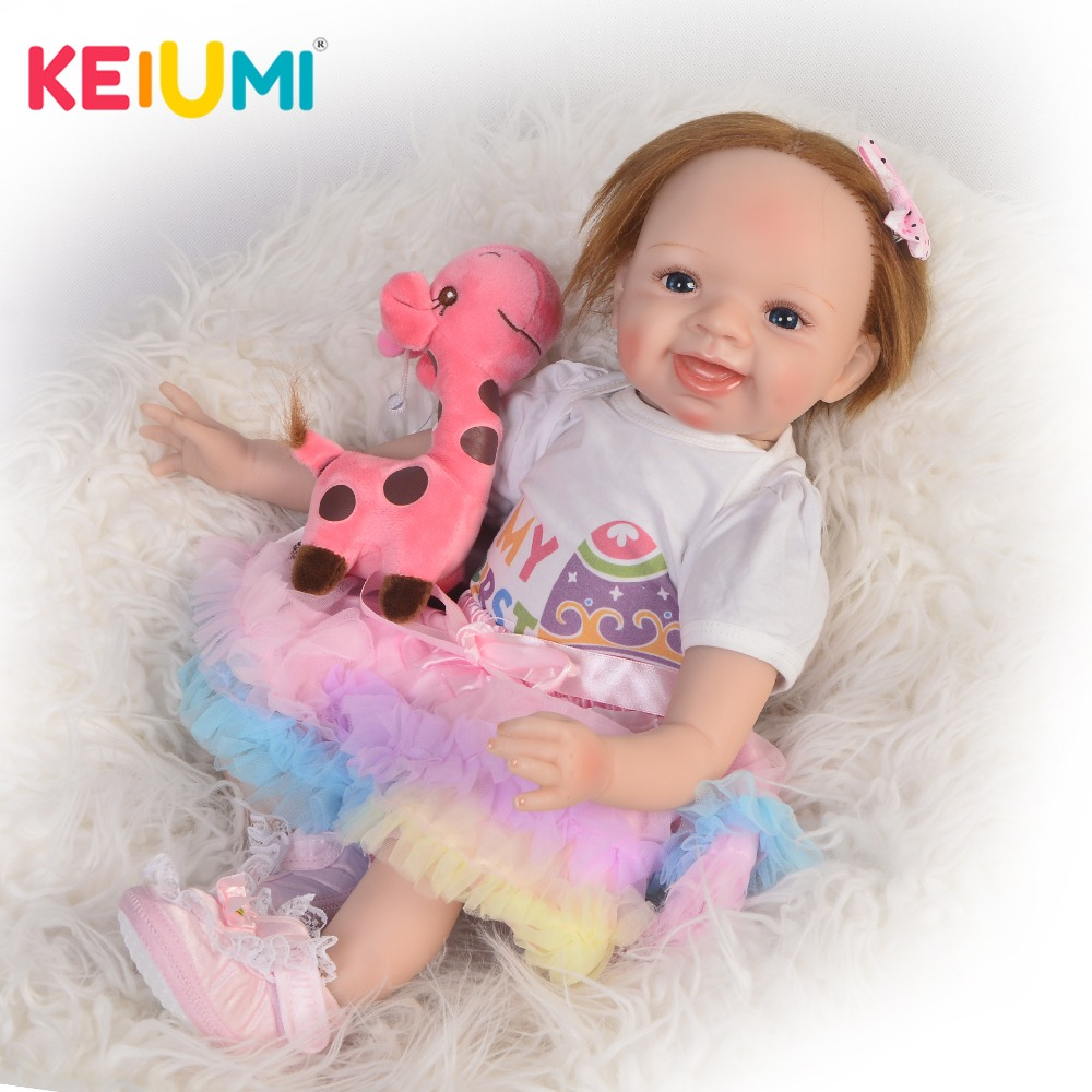 KEIUMI Handmade 22 Inch Newborn Baby Doll Cloth Body Realistic Lovely Baby Doll Toy For Children's Day Kid Christmas Xmas Gifts keiumi real 22 inch newborn baby doll cloth body realistic lovely baby doll toy for children s day kid christmas xmas gifts