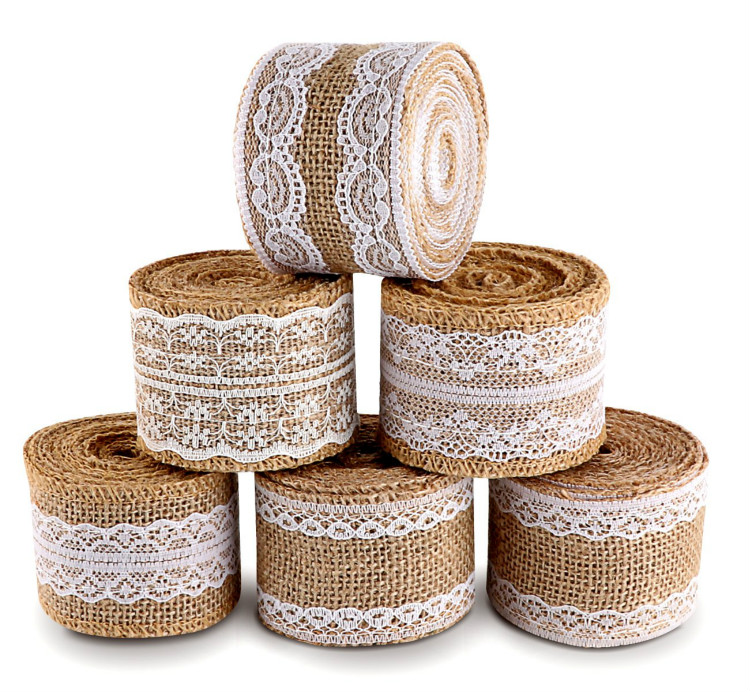20 Yards Natural Burlap Ribbon Roll with White Lace Trims Tape 6 Rolls for Rustic Wedding Favor Decorations DIY Handmade in Party DIY Decorations from Home Garden