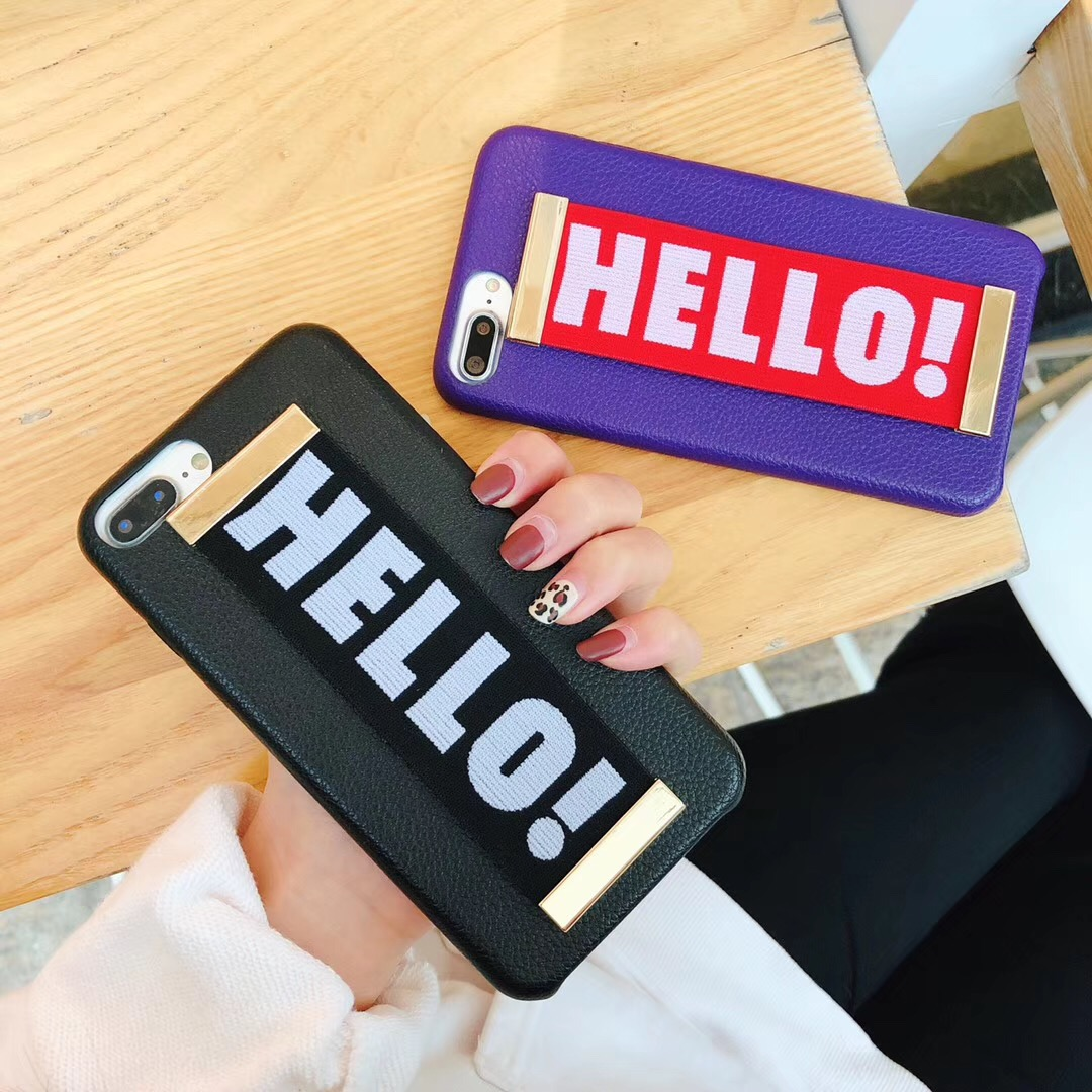Fashion Hello Letters Elastic Hand Case For iPhone Series