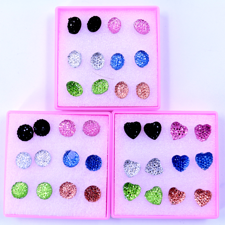 Free Shipping Factory 6pairs Resin Plastic Stone Board Anti-allergy Plastic Stick Ladies' Ear Studs Fashion Jewelry Round Heart