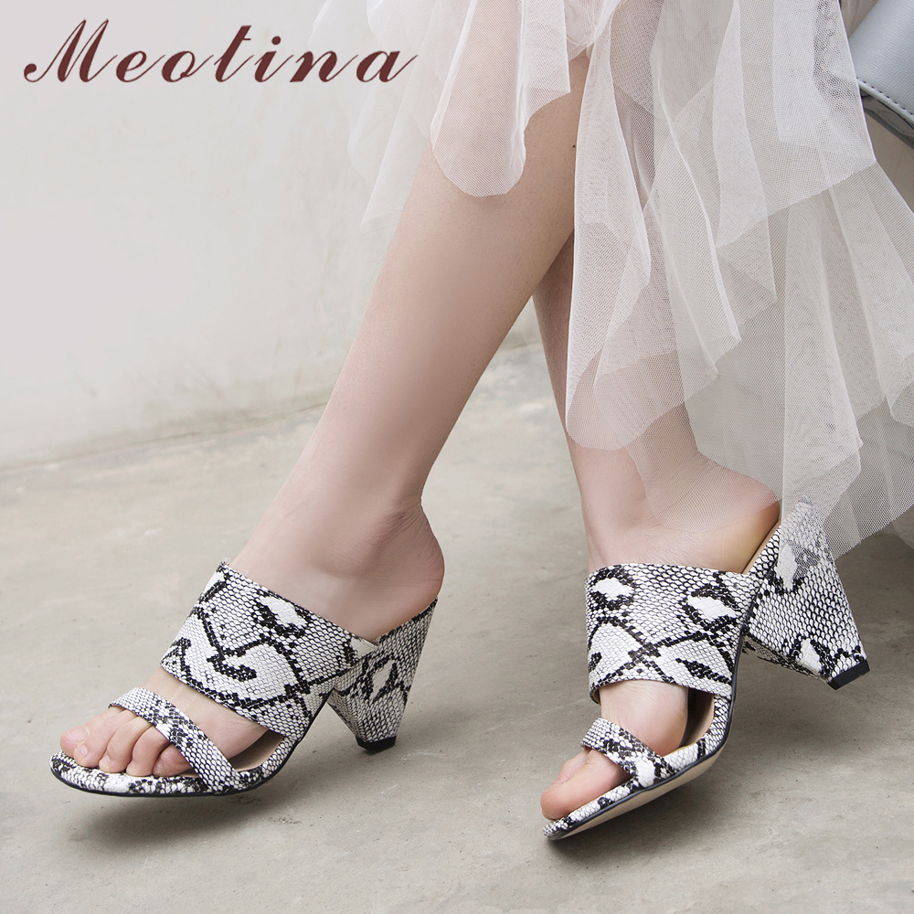 Meotina Summer Sandals Women Slippers Snake Print Spike High Heel Shoes Fashion Open Toe Slides Ladies