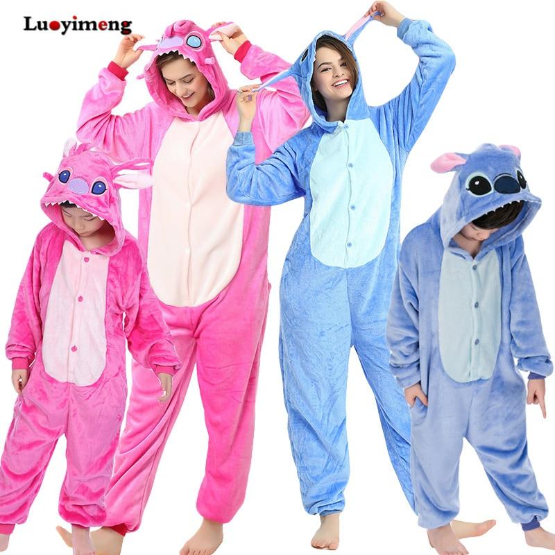 Boy Girl Stitch Unicorn Pajamas Onesie Kids Kigurumi Anime Panda Pijama Winter Warm Women Nightie Unicornio Sleepwear Overalls