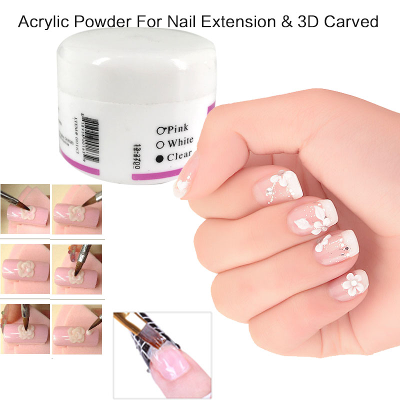 3pcs Color ( White Clear Pink ) Crystal Acrylic Powder For Nail Extension Tips & 3D Carved Flower Nail Art Nail Care Product