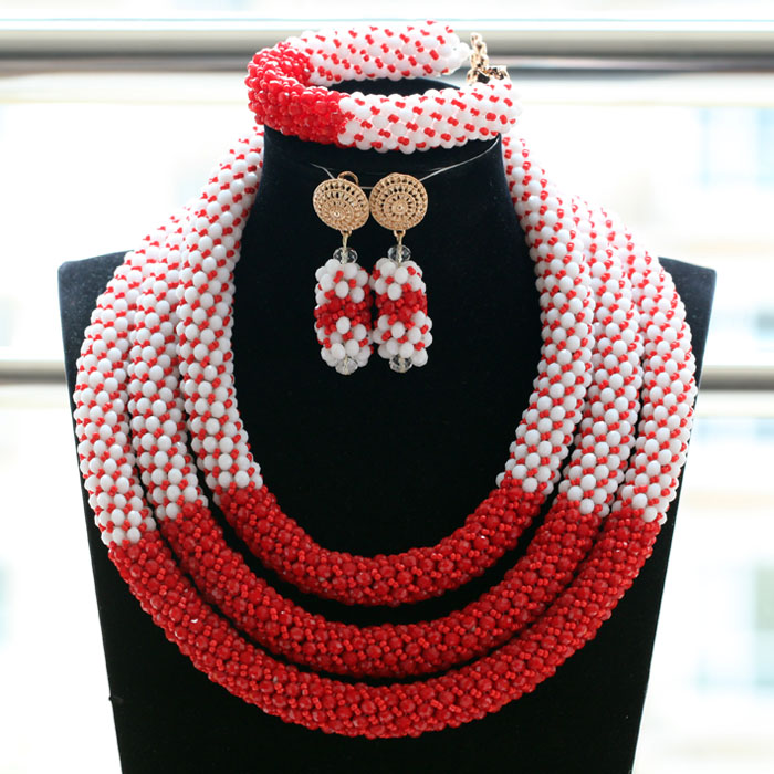 2017 Nigerian Wedding African Beads Jewelry Set New White and Red Crystal Braids Costume Necklace Set Gift Free Shipping ABH4932017 Nigerian Wedding African Beads Jewelry Set New White and Red Crystal Braids Costume Necklace Set Gift Free Shipping ABH493
