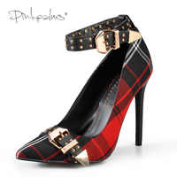 Rose palmiers Mary Jane chaussures dans escarpins pour femmes Tartan talons hauts Plaid Sexy robe chaussures avec Rivets cheville sangle chaussures femmes rouge