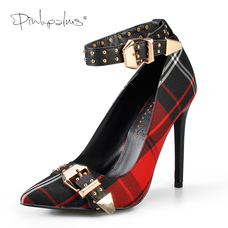 Pink Palms Mary Jane Shoes In Women's Pumps Tartan High Heels Plaid Sexy Dress Shoes With Rivets Ankle Strap Shoes Women Red
