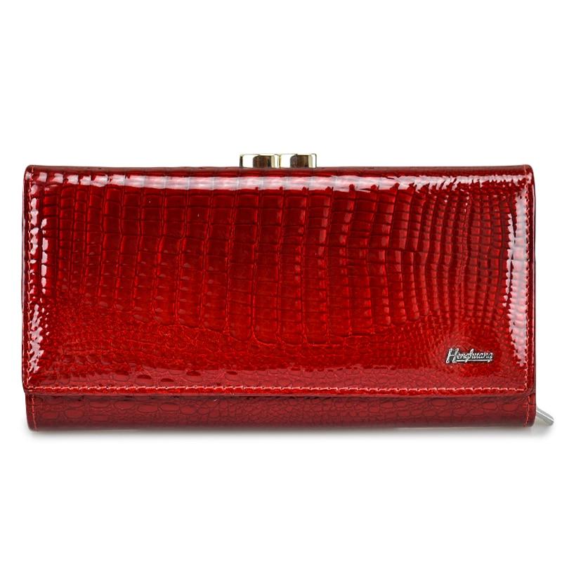 где купить HH Genuine Leather Women Wallets Alligator Long Hasp Zipper Wallet Ladies Clutch Bag Purse 2018 New  Female Luxury Purses по лучшей цене