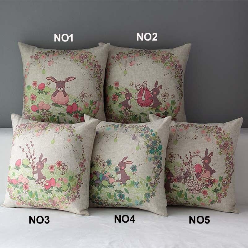 "Raz 18 Colorful Bunny Easter Pillow: 18"" Square Easter Bunny Cotton Linen Cushion Cover Sofa"