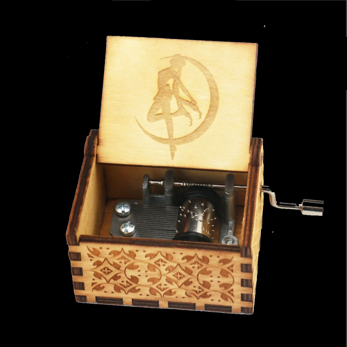 Wooden Hand cranked Music Box 39 Sailor Moon 39 Theme Takes You Back To Childhood in Music Boxes from Home amp Garden