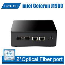 Celeron j1900 2 * porta de fibra óptica mini computador do computador windows 7 quad core micro computador linux vga nettop fibra gigabit ethernet