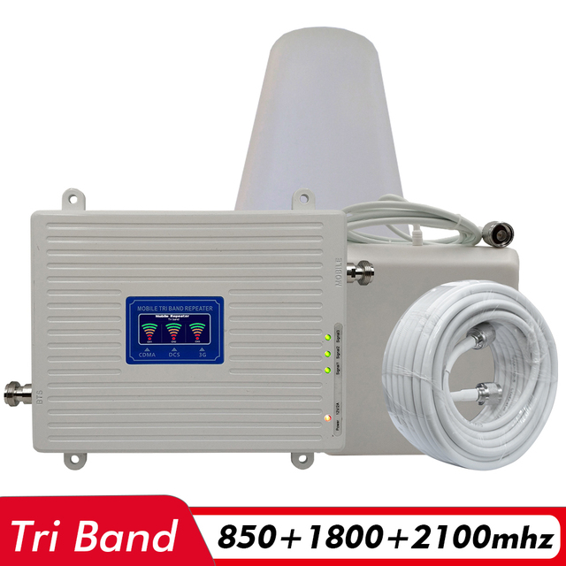 2G 3G 4G Tri Band Signaal Booster CDMA 850 + DCS/LTE 1800 + WCDMA/ UMTS 2100 Mobiele Telefoon Signaal Repeater Cellulaire Versterker Antenne Set