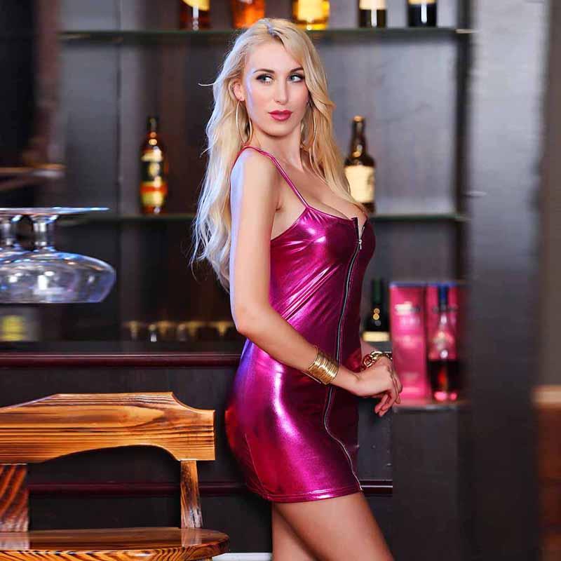 HTB1a83PaE rK1Rjy0Fcq6zEvVXaa 4XL Ladies Sexy Club Party Sheath Dress Sleeveless Spaghetti Strap Low-cut Dress Women's Clothing Front Zipper Mini Vestidos