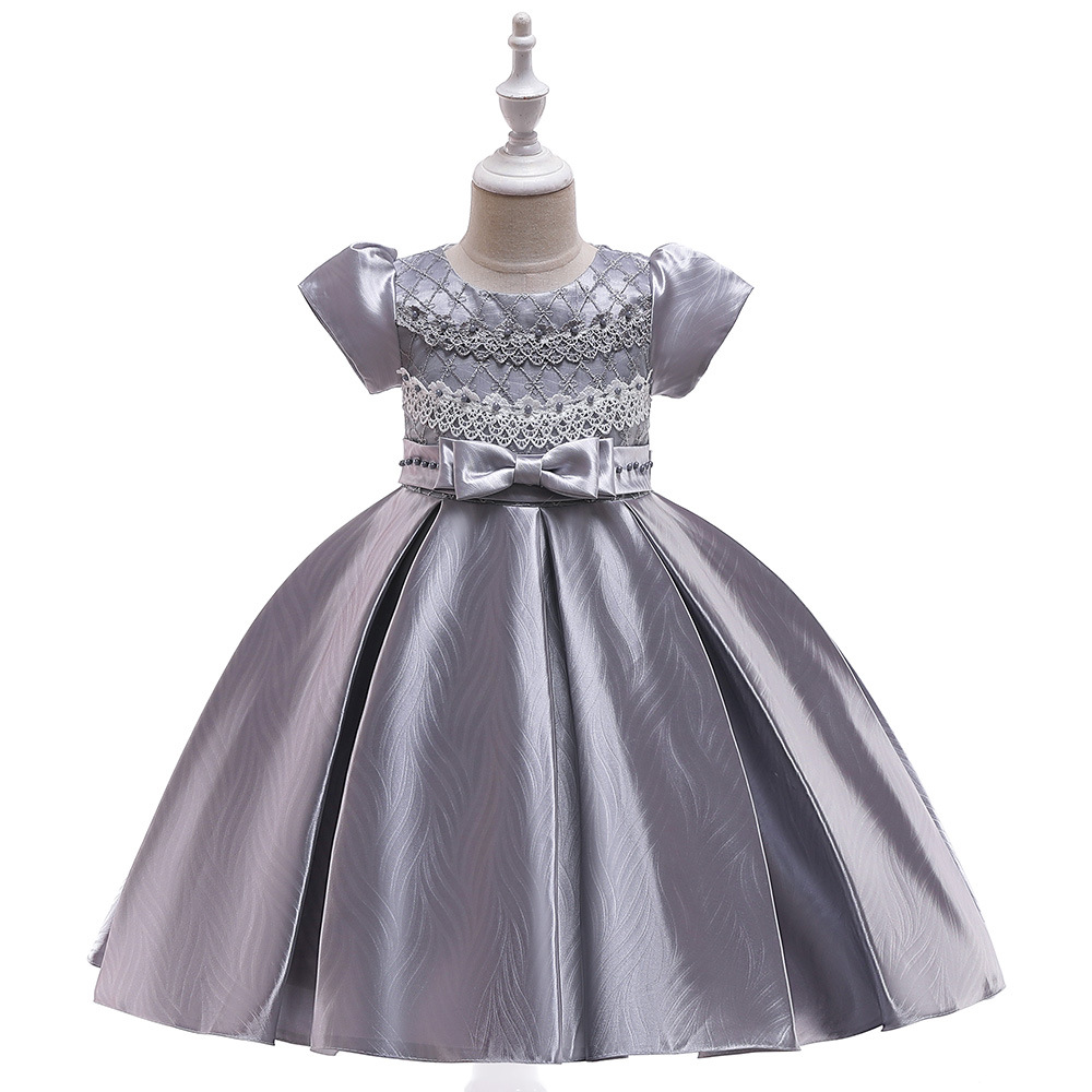 lovely Grey Short Sleeves Lace   Flower     Girl     Dresses   For Prom Evening Satin Birthday Party   Dresses   2019