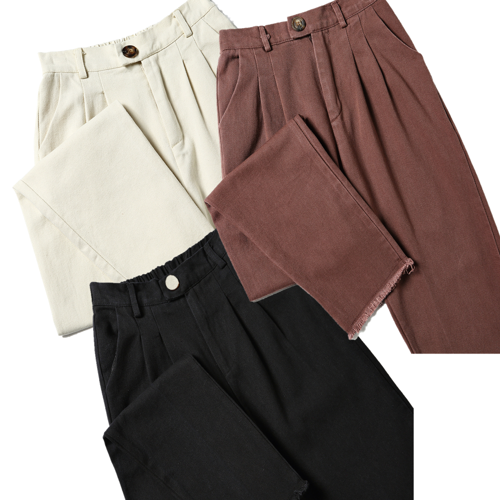 2018 Fashion Casual Straight Pants Woman Solid Beige Elastic Waist Regular Basic Trousers Autumn Cool Cotton Ankle Length Pants