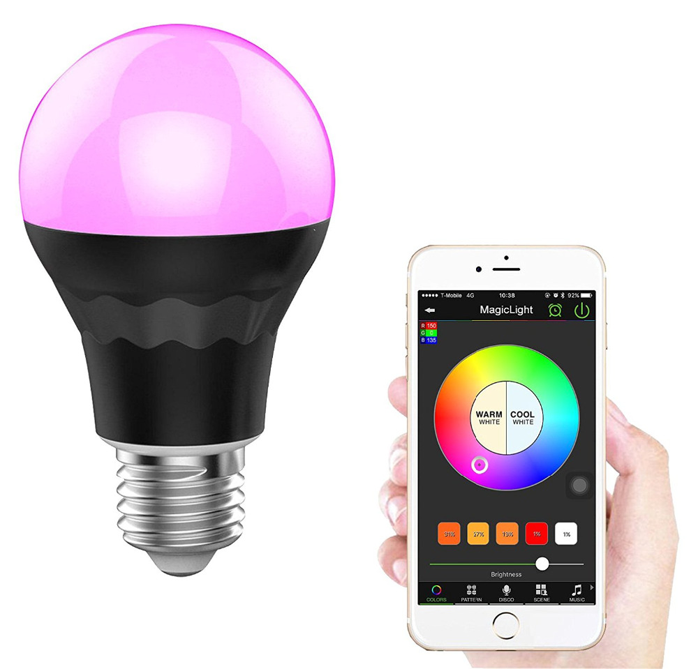 Bluetooth 7 5w multi colored smart led light bulb - Control lights with smartphone ...