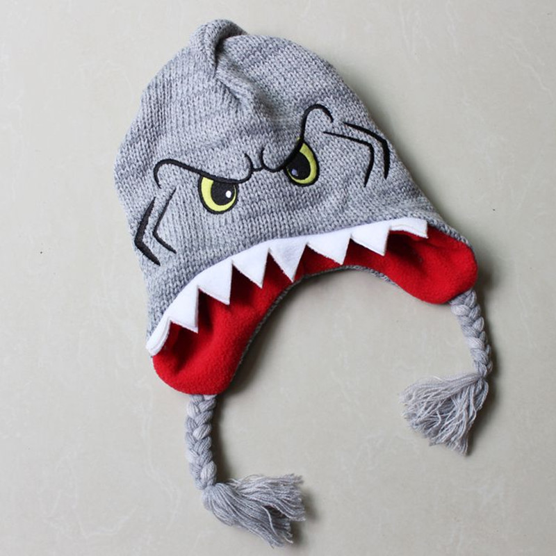 Cute Killer Animals Shark Plush Knitting Cotton Hat Novelty Fish Nemo Cosplay Warm Hat Halloween Party Kids Baby Cap Beanies warm plush detachable wash safety explosion proof hot water bottle plush turtle clown fish nemo