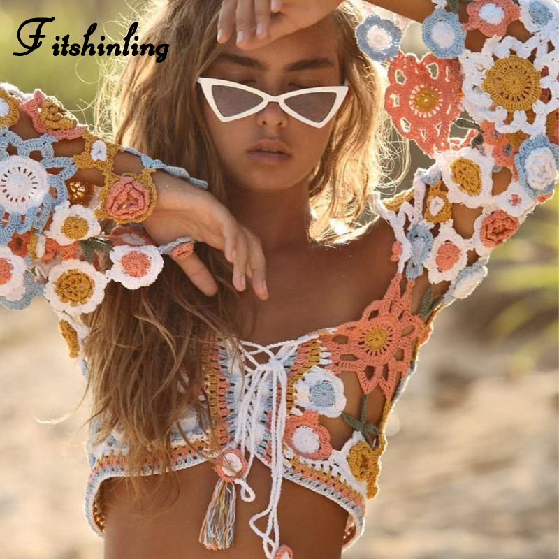 Fitshinling Handmade crochet women's t-shirts crop top female flare sleeve lace up fringe bohemian tee shirt femme sexy tops hot