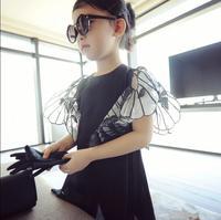 2-6y, 2017 Nuevo Estilo de Europa y América Marca de Fábrica Grande de La Mariposa Alas Muchachas de La Gasa Del Vestido de Los Niños Vestido de La Manera, 2051