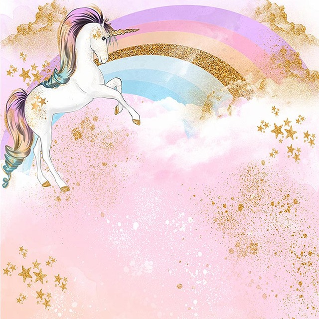 Unicorn Party Rainbow Star Gold Bling Bling Photo