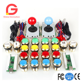 2 Player Arcade DIY Kits Parts USB Encoder To PC Joystick+5Pin Sticker + Gilded 1 & 2 Players Coin LED Lamp Lights Push Button