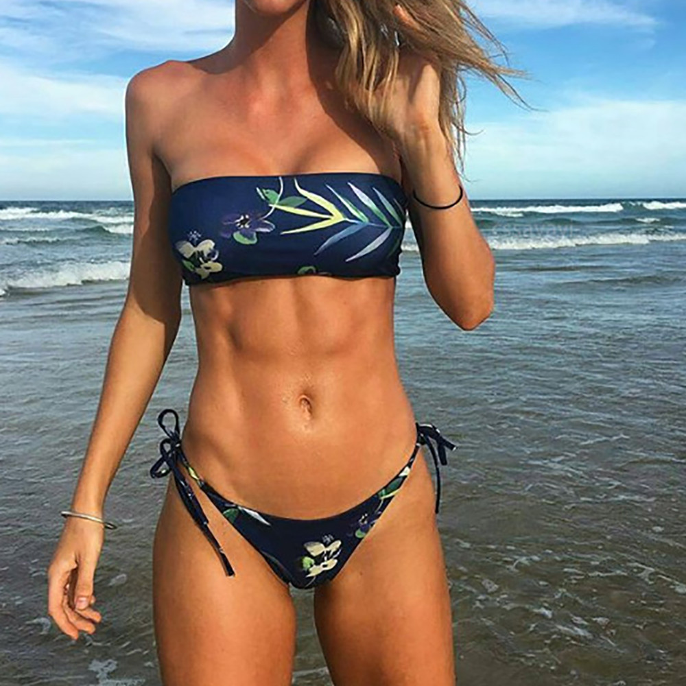 Women Bikini Set Swimwear Push-Up Padded Bandage Print Bra Swimsuit Beachwear 7627