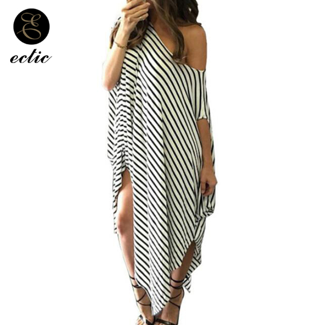 bdd3634f30 Robe Femme Ete 2018 Women Plus Size 100kg Thigh Split Dress Sukienka Black  White Striped Dress