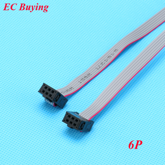 5pcs FC-6P 6 Pins 2.54mm Pitch JTAG AVR Download Cable Wire Connector Gray Flat Ribbon Data Cable 28AWG 300V 30cm
