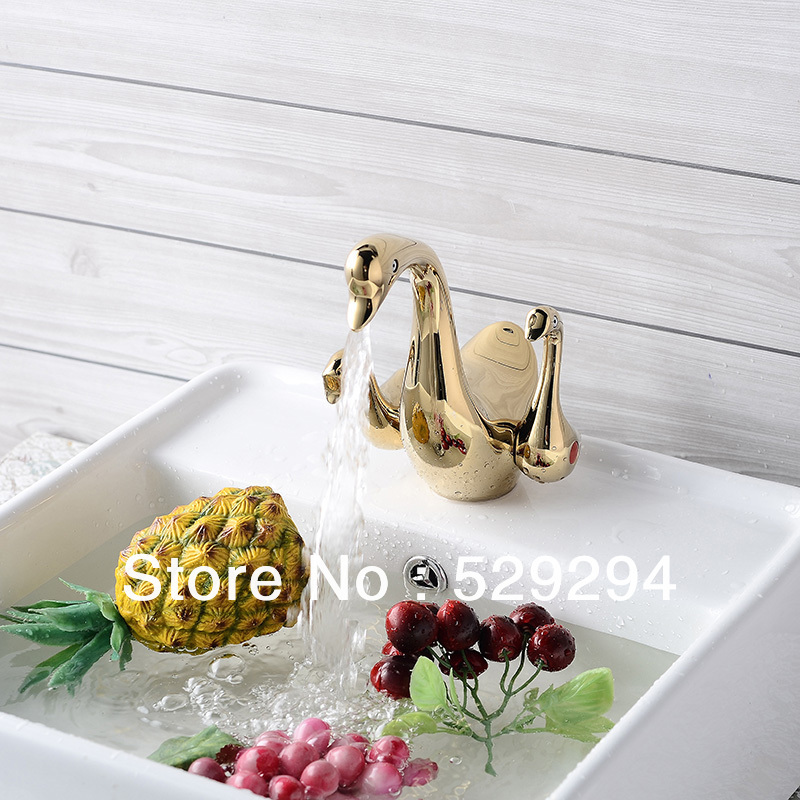Gold color Swan design Hot &Cold Brass Faucet.Double Swan Handles Wash basin faucet.Polished swan faucet. 1pcs 4v110 06 ac220v lamp solenoid air valve 5port 2position bsp