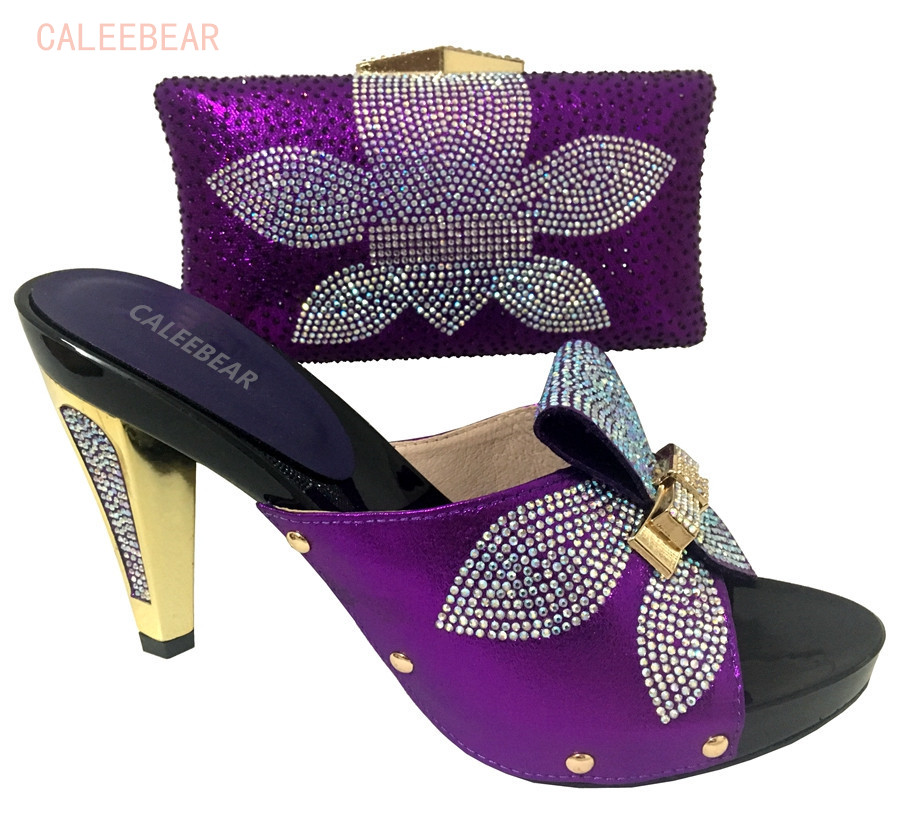 2018 Newest Italy Purple Shoes And Bag Set To Match Women Shoes To Match Bag Matching Dress ...