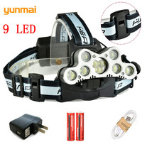 Yunmai Outdoor 9 LED Powerful Micro Headlamp Waterproof 25000LM Cree XML T6 Q5 LED Headlight Camping