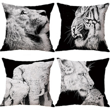 Black and White Animal Lion Tiger Elephant Throw Pillow Case Sofa Bed Cushion Cover Home Decor 45cm Digital printed pillowcase elephant girl and tree nature landscape design sofa pillow case