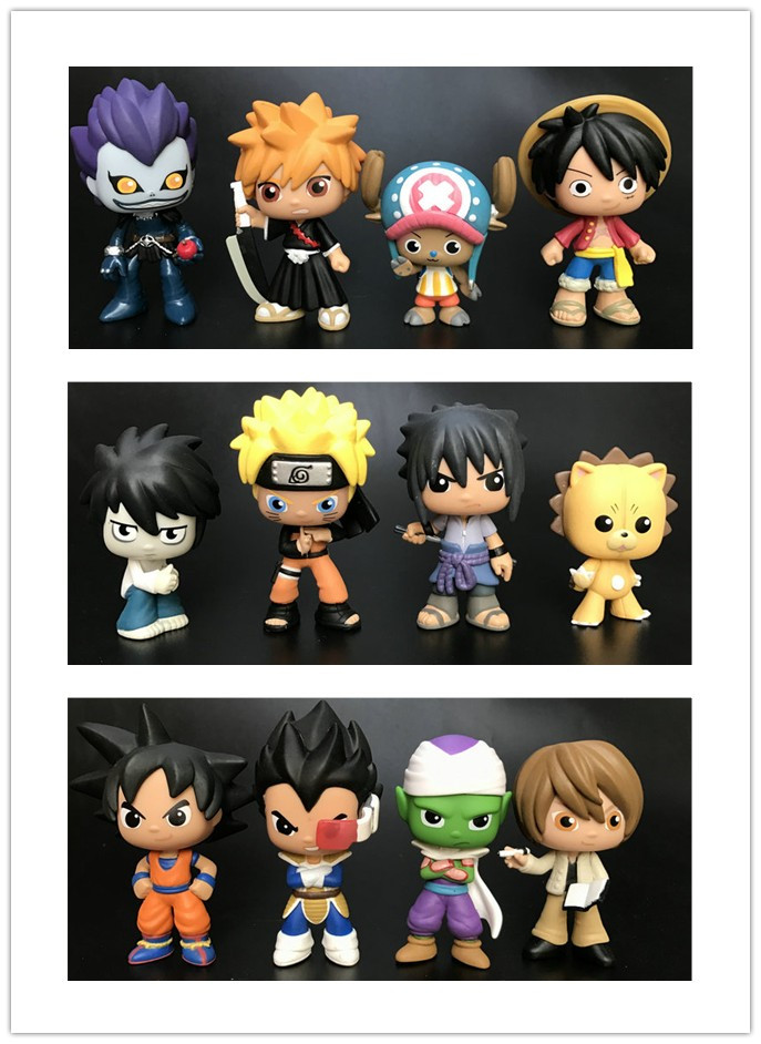 Original Funko Mystery Minis: Death Note Dragon Ball Goku, Piccolo, Vegeta One Piece Vinyl Figures Collectible Model Loose Toys
