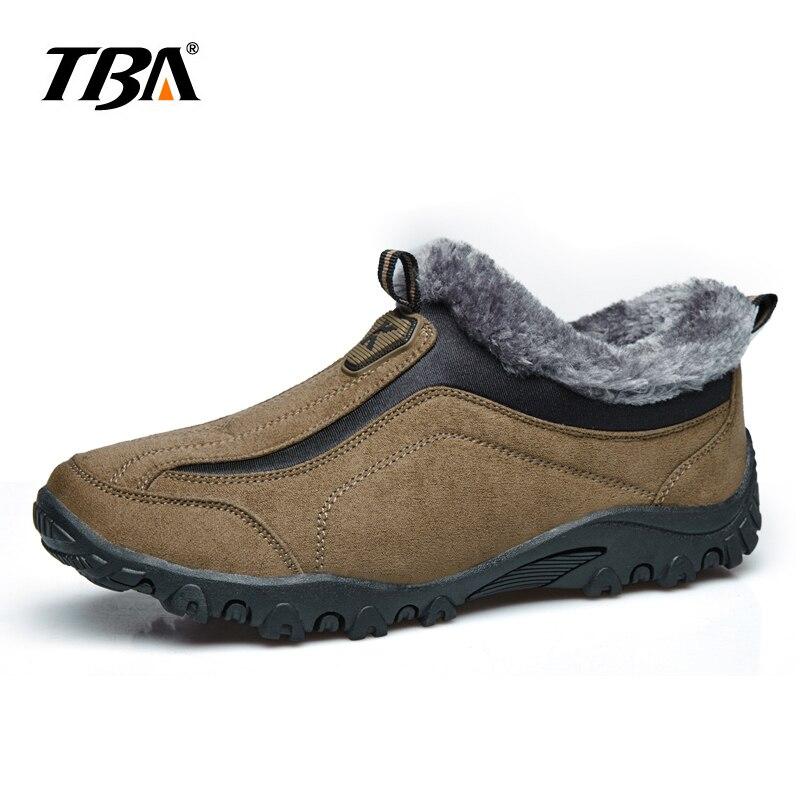 2017 tba Для мужчин; зимние ботинки теплые Обувь для прогулок мужской Натуральная шерсть Снегоступы теплые замшевые русский Стиль зимняя обувь