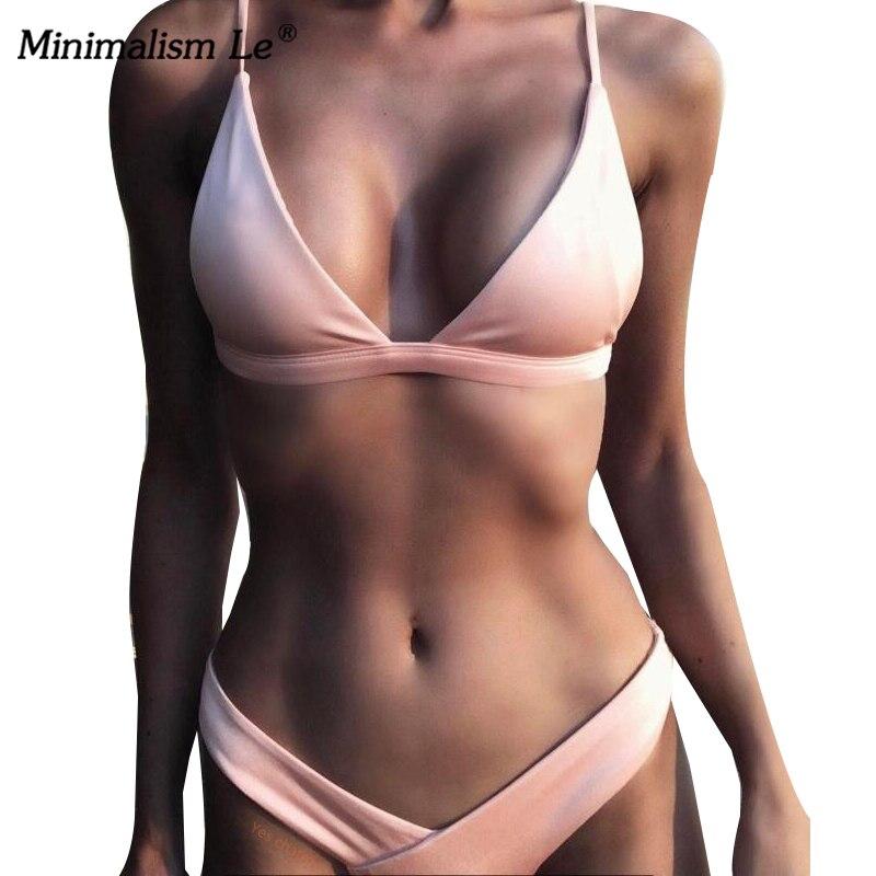 Minimalismus Le 2019 Solide Bikini Sets frauen Badeanzug Weibliche Bademode Bikinis Sexy Badeanzüge Biquini Strand Tragen