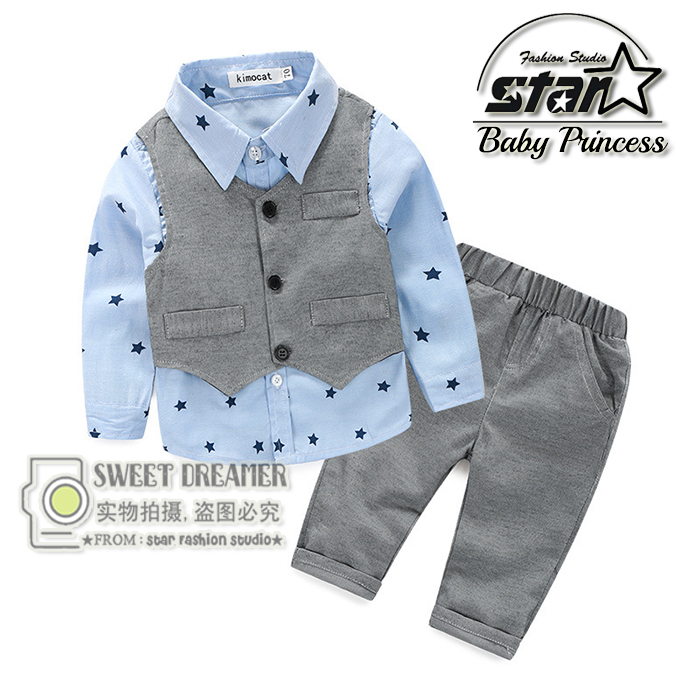 New Baby Clothing Set Spring Gentleman Kid Clothes Suit Toddler Boy Clothing Set Long Sleeve T-shirt Pant Children Clothing kids shirt vest pant set 3pcs spring new children s clothing boys long sleeve gentleman suit baby striped trousers clothes