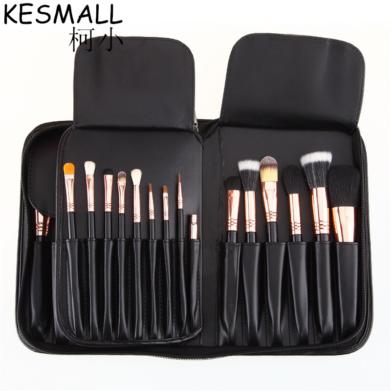 KESMALL 29 pcs Makeup Brushes Professional Cosmetic Brush Set High Quality Nature Bristle Make Up Tools Kit With Case CO313 hot sale 2016 soft beauty woolen 24 pcs cosmetic kit makeup brush set tools make up make up brush with case drop shipping 31