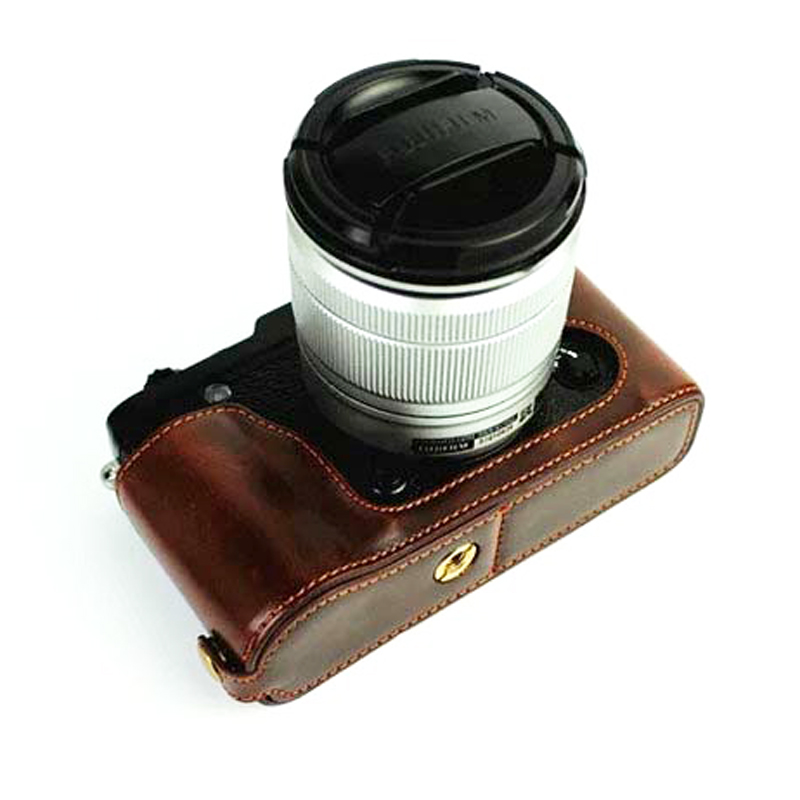 BolinUS Handmade Genuine Leather Colorful Half Camera Bag Case for Mirrorless Olympus PEN E-PL8 Green EPL8 Case