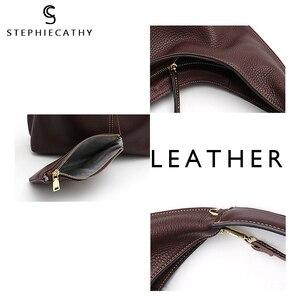 Image 3 - SC Brand Designer High Quality Cow Leather Hobo Women Genunine Leather Shoulder Bag Ladies Large Soft Casual Handbag Zip Purse