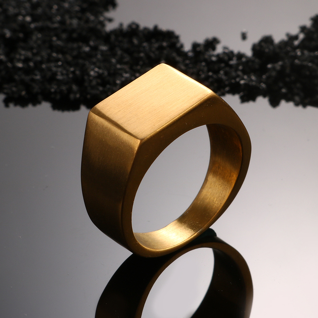 JOVO Hip-Hop Chunky Steel Rings for Men Jewelry Biker Style 4 Color Male Square