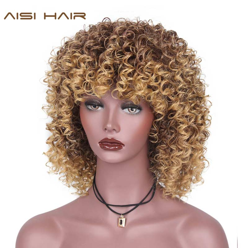 AISI HAIR 16inch Synthetic Afro Kinky Curly Wigs for Black Women Blonde Mixed Brown African American Hair with Bangs
