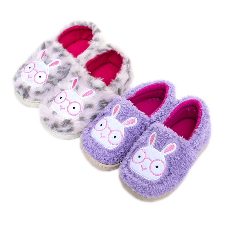 Winter Children's Slippers Boys Girls Home Slippers Cute Leopard Rabbit Fashion Plush Shoes Comfortable Warm Winter Slipper