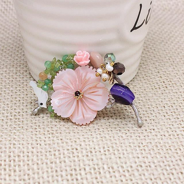 6 pc Shell Pássaro Flor Corsage Broche Pin Up Natural Contas Hijab Pinos Broches Broches jóias Para As Mulheres Broche Pin de Lapela TBH0267