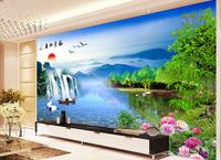 3d room wallpaper custom mural non-woven picture 3 d Mountain waterfall lake boat crane painting photo 3d wall murals wallpaper