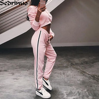 2017 Casual Women 2 Piece Set Crop Top Loose Jumpsuits Romper Long Sleeve Hoodies Suit Playsuit