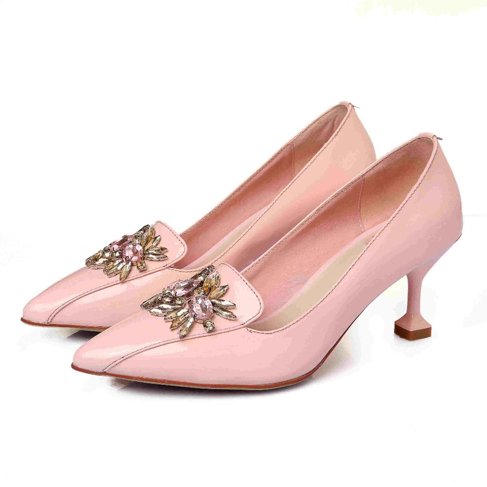 KRAZING POT New Fashion Brand Shoes High Heel Party Crystal Pink Women Pumps Casual Wedding Pointed Toe Cow Leather Lady Shoe 69 2017 new fashion brand spring shoes large size crystal pointed toe kid suede thick heel women pumps party sweet office lady shoe