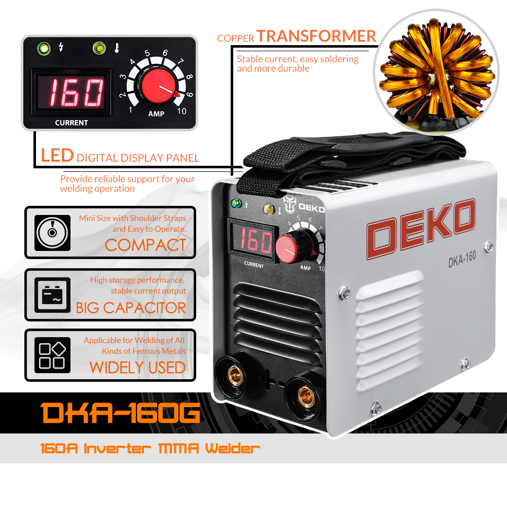 DEKO DKA 160 160A 4.1KVA IP21S インバーターアーク電気溶接機の Mma 溶接機作業と電気作業  グループ上の ツール からの アーク溶接機 の中 2
