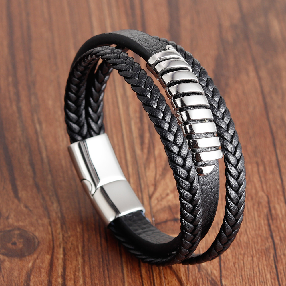 2019 Fashion Stainless Steel Chain Genuine Leather Bracelet Men Vintage Male Braid Jewelry for Women Man Buddha Bracelet